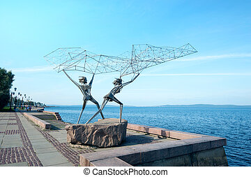 "Sculpture ""The Fishermen"" in Petrozavodsk, Russia. Sculpture..."