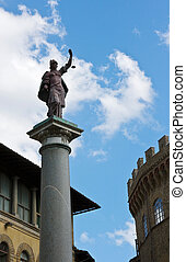 Sculpture with scales on the area in Florence
