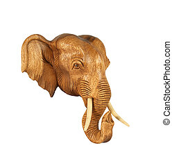 Sculpture (wood) picture elephant head. Isolated on pure white.