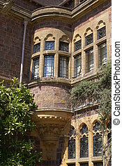 sculptured, janela, tudor, baía