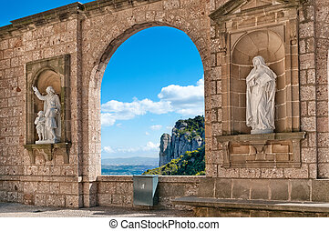 Sculptures at Montserrat Abbey, Tarragona Province, Spain