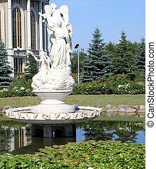 sculptures, monuments, parcs, sanctuaire, lichen, notre, dame