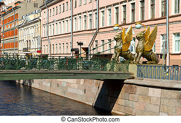 Sculptures of Griffons of Bank bridge in St.Petersburg