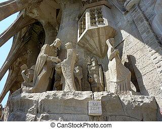 Sculptures of the Sagrada familia church, Barcelona, Spain