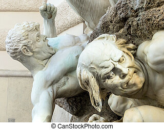 sculptures on the facade of a townhouse in as