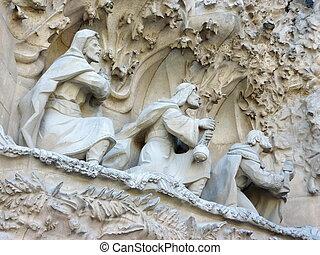 Sculptures on the Sagrada familia church, Barcelona, Spain