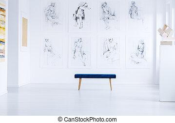 scultura, luminoso, galleria arte