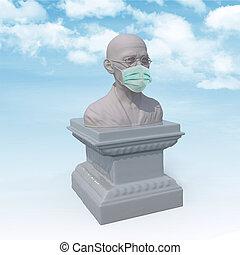scultura, mahatma gandhi, chirurgo, maschera
