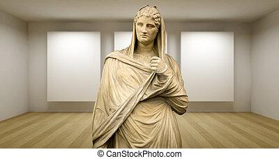 sculture, κυρία , αρχαίος , δωμάτιο , γκαλερί , ελληνικά , άγαλμα , αδειάζω , 3d