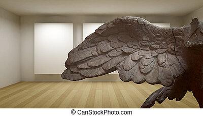 sculture, ala, antiguo, habitación, galería, griego, estatua, vacío, 3d