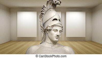 sculture, antiguo, habitación, galería, griego, estatua, pericles, vacío, 3d