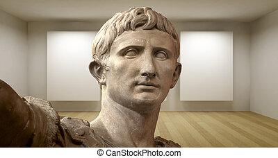 sculture, antiguo, habitación, galería, griego, estatua, vacío, 3d