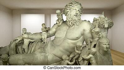 sculture, antiguo, zeus, habitación, galería, griego, estatua, vacío, 3d