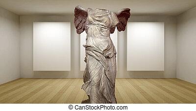 sculture, samotracia, habitación, galería, griego, estatua antigua, vacío, 3d
