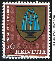 Scuol Arms - SWITZERLAND - CIRCA 1980: stamp printed by...