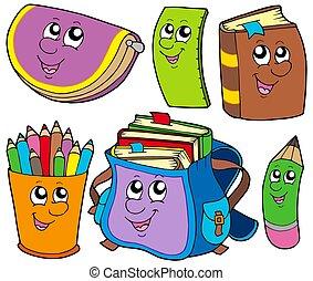 scuola, 5, indietro, collezione