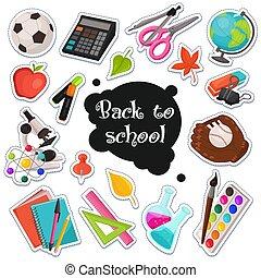 scuola, adesivi, collezione