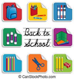 scuola, adesivi, indietro