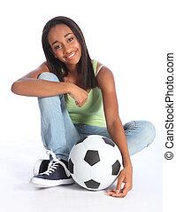 scuola, adolescente, americano, africano, ragazza, calcio
