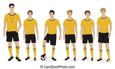 scuola, allenatore, football, giovane, illustrazione, vettore, trainer., squadra, tipi