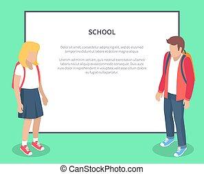 scuola, alunni, testo, posto, caratteri, cartone animato