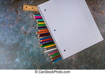 scuola, assortito, righello, quaderno, matite, provviste