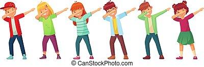 scuola, atteggiarsi, limanda, ballo, ballo, dabbing, adolescenti, illustrazione, vettore, adolescente, esecuzione, fabbricazione, cartone animato, kids., capretto