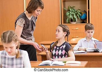 scuola, bambino, mobile, insegnante, telefono, confiscating...
