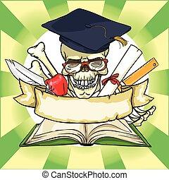 scuola, banner., indietro, graduazione, etichetta, nastro, icona