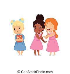 scuola, birichino, derisione, un altro, ragazze, illustrazione, bullying, beffeggiamento, cattivo, vettore, fondo, fra, bianco, bambini, conflitto, comportamento