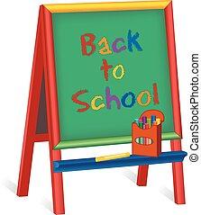 scuola, cavalletto, childrens, indietro