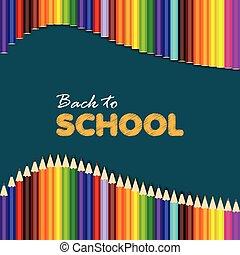 scuola, colorito, indietro, augurio, vettore, pencils., scheda