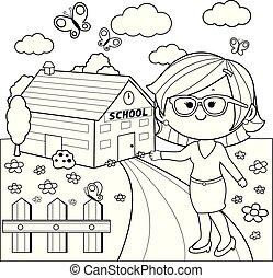 scuola, coloritura, insegnante, vettore, nero, fronte, pagina bianca, costruzione.