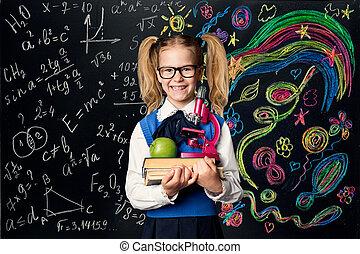 scuola, concetto, arte, cultura, sopra, bambino, creatività, lavagna, creativo, libri, studente, matematica, ragazza, educazione, capretto