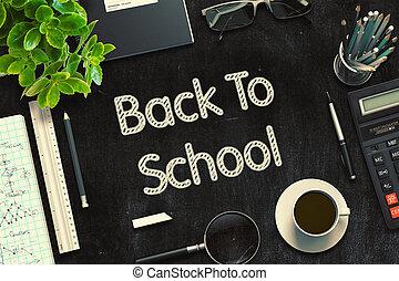 scuola, concetto, rendering., indietro, nero, chalkboard., 3d