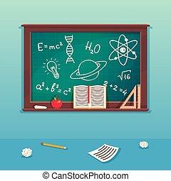 scuola, concetto, scuola, lavagna, pezzo, illustrazione, classe, gesso, supplies., lavagna, scienza, verde, educazione, aula, design.