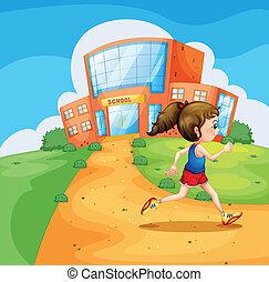 scuola, correndo, ragazza