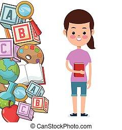 scuola, cubo, mela, tavolozza, libro, studente, attrezzi