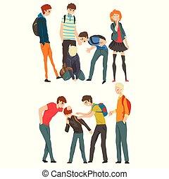 scuola, derisione, adolescenti, illustrazione, bullying, vettore, fondo, fra, bianco, conflitto