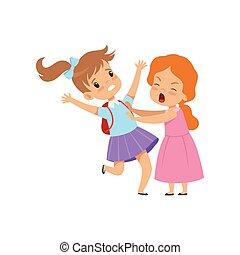 scuola, derisione, combattimento, ragazze, due, illustrazione, bullying, cattivo, vettore, fondo, fra, bianco, bambini, conflitto, comportamento