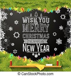 scuola, desiderio, albero, natale, chalkboard., scritto, messaggio, allegro, anno, abete rosso, nuovo, decorato, felice, lei, fur.