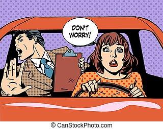 scuola, donna, guida, driver, calma, panico