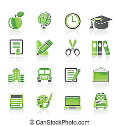 scuola, e, educazione, icone