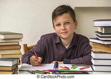 scuola elementare, homework., studente