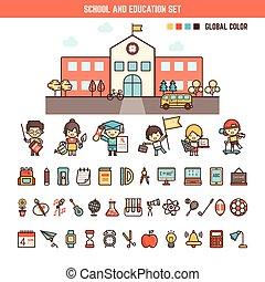 scuola, elementi, educazione, capretto, infographics