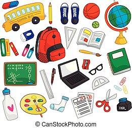 scuola, elementi, scarabocchiare, indietro, isolato, fondo, bianco