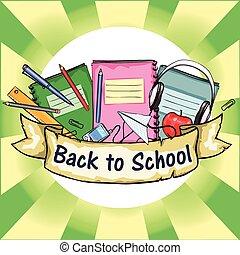 scuola, etichetta, indietro, nastro, banner.