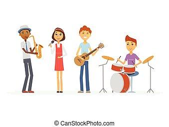 scuola, fascia musica, -, cartone animato, persone,...