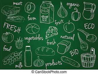 scuola, fattoria, -, prodotti, asse, doodles