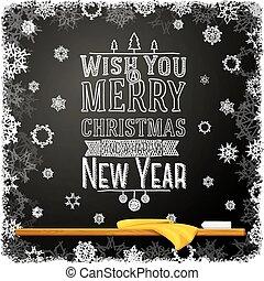 scuola, felice, allegro, desiderio, chalkboard., nuovo, natale, messaggio, anno, lei, scritto